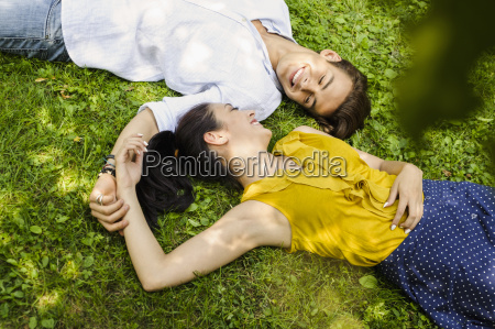 high angle view of young couple