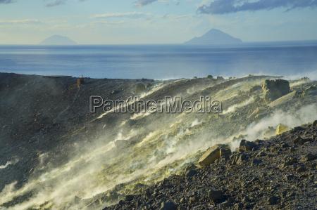 sulphur and fumaroles smoke on gran