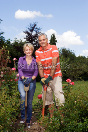 portrait of couple gardeners