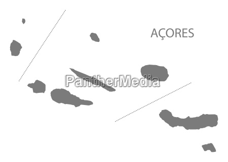acores portugal map grey