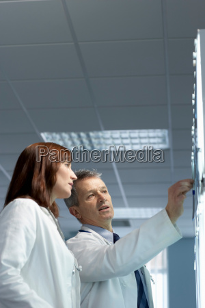 two doctors looking at x rays