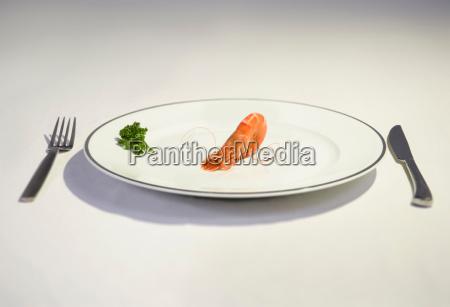 prawn cowering on plate