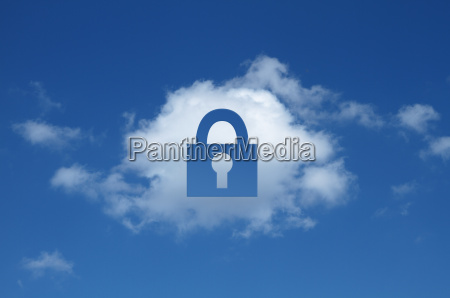 digital composite of cloud with padlock