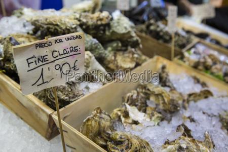 market stall with fresh mediterranean seafood