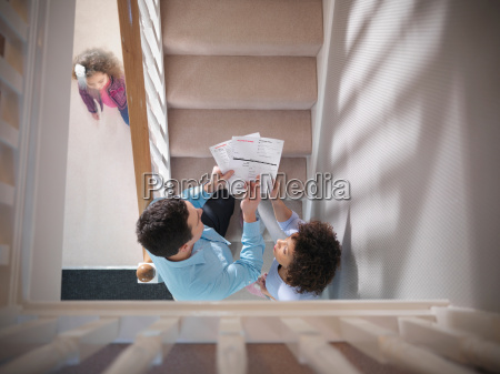 high angle view of couple discussing