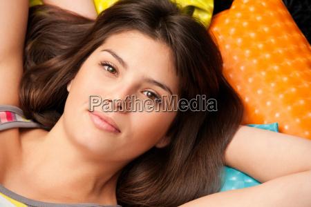 headshot of a woman lying on