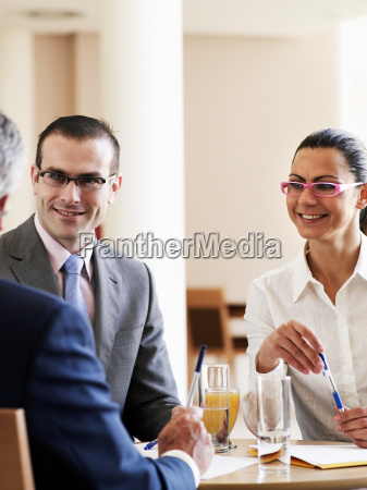businessman and woman in meeting