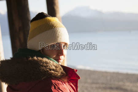 young woman wearing knit hat