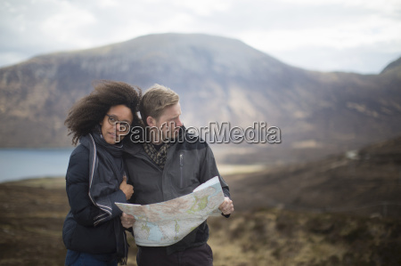 mid adult couple in mountains with