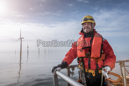 portrait of engineer on boat at