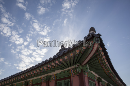 low angle view of pagoda roof