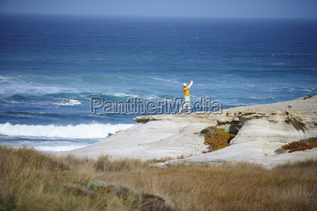 high angle view of golfer standing