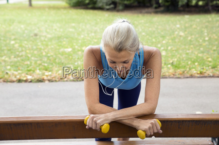 mature woman taking a break at
