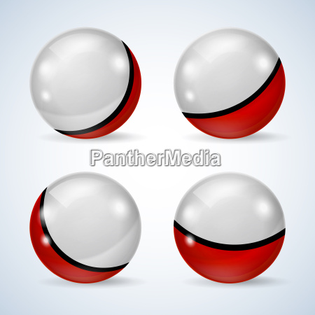 set of red and white glossy