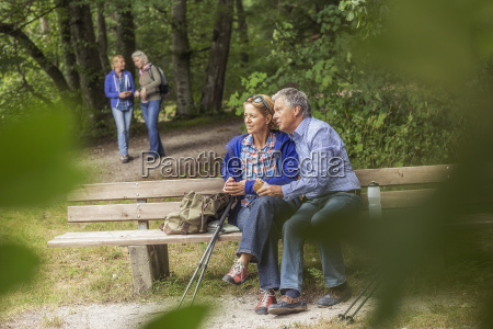 couple sitting on bench in forest
