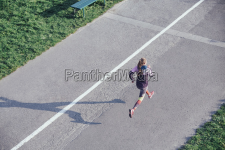 high angle view of female runner