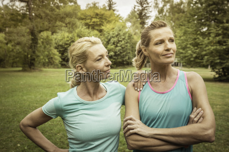 mature women in park wearing sports