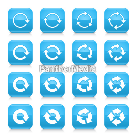 blue arrow reload sign square icon