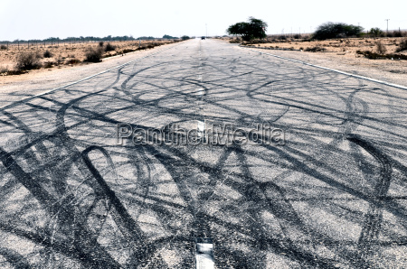 road art created by car drifting