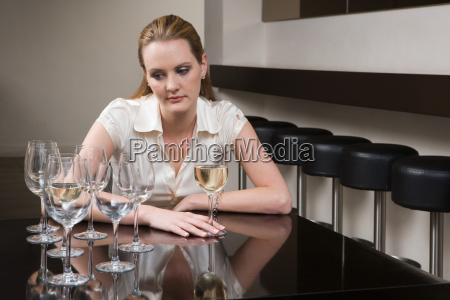 drunken woman in a bar