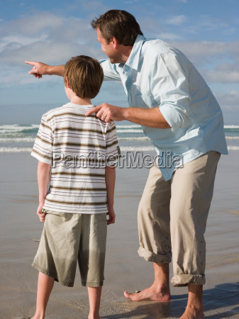 father and son by sea