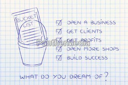 bucket list with entrepreneurs business success