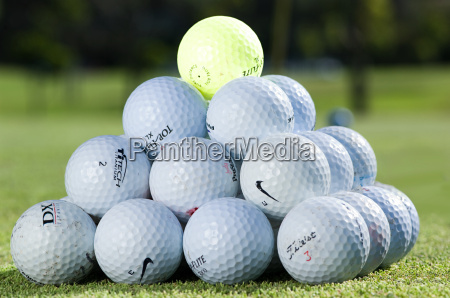 a stack of golf balls