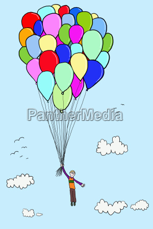 boy floating with balloons illustration