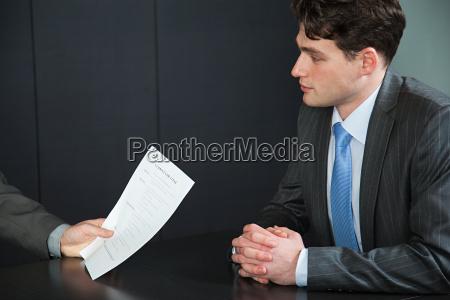 businessman in job interview