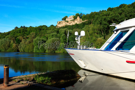 a boat moored on the rhine