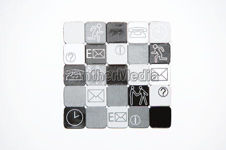 squares with illustrations on them