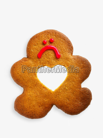 gingerbread man with missing heart