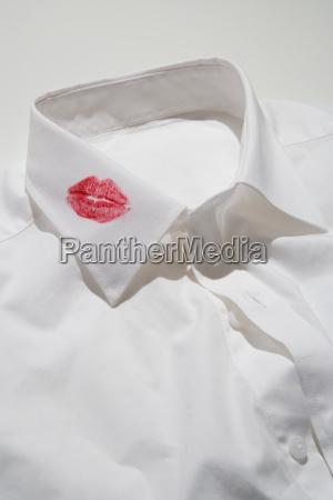 lipstick kiss on a collar