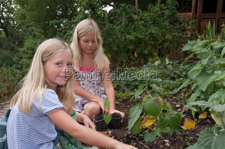 girls gardening in vegetable garden