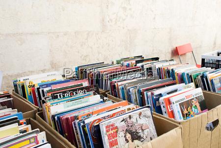 comic books on market stall