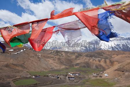 buddhist prayer flags comic village spiti