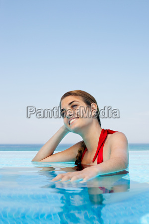 young woman in swimming pool portrait