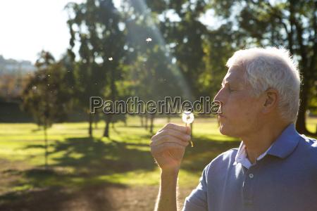 senior man blowing dandelion clock