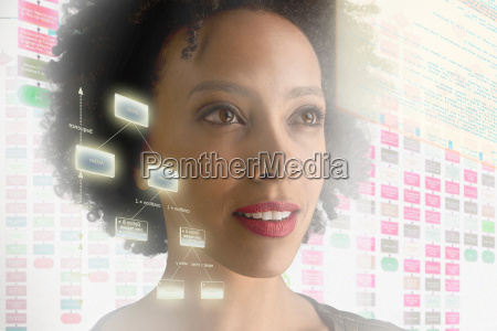 woman surrounded by with holographic information