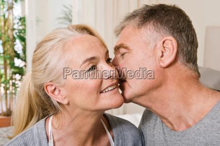 intimate mature couple