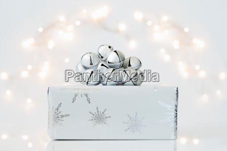 christmas gift and jingle bells