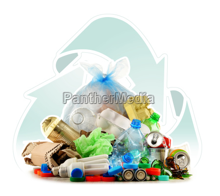 recyclable garbage consisting of glass plastic