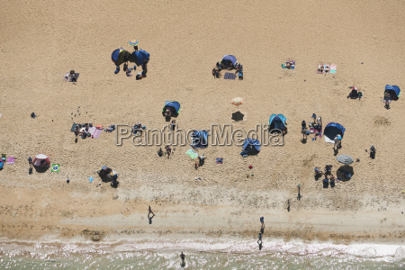 aerial view of holiday makers on