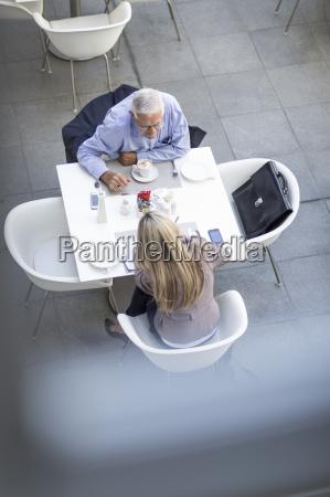 high angle view of senior businessman