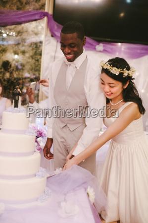 bride and bridegroom at wedding reception