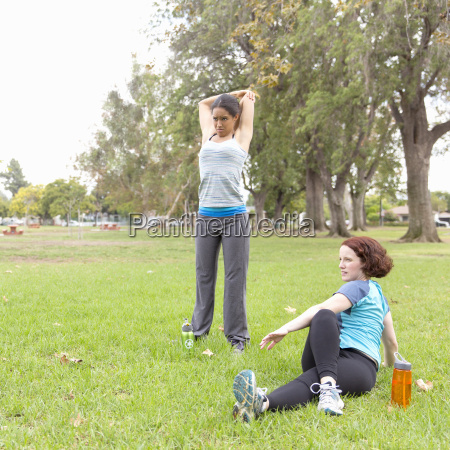 young women wearing sports clothing on