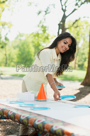 mother preparing for birthday party