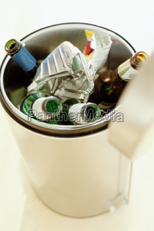 rubbish bin with refuse