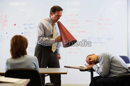 ceo shouting at sleeping colleague