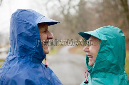 senior couple face to face in